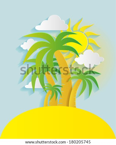Abstract background with sun, palms and clouds