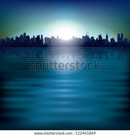 abstract background with sunrise and silhouette of city - stock vector