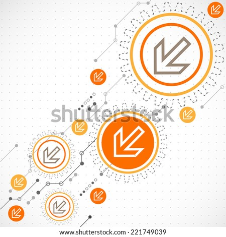 Abstract background with technological elements. Arrow theme - stock vector