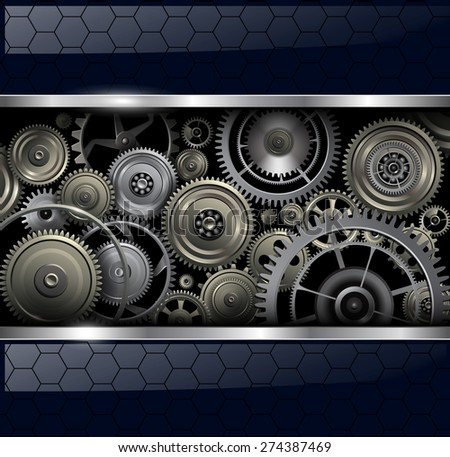 Abstract background with technology machine gears, vector illustration. - stock vector