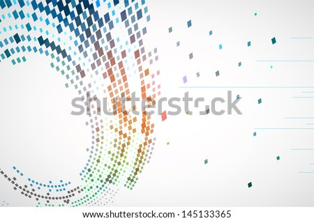 Abstract background with the chaotically located  rectangles in an oval form - stock vector