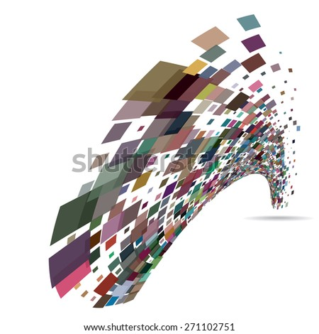 Abstract background with the chaotically located rectangles. Vector illustration