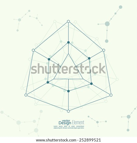 Abstract background with the geometric figure, points and lines,  molecule structure. genetic and chemical compounds - stock vector