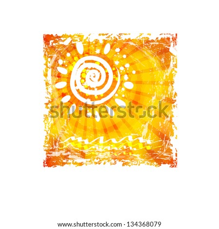 abstract background with the image of the sun - stock vector