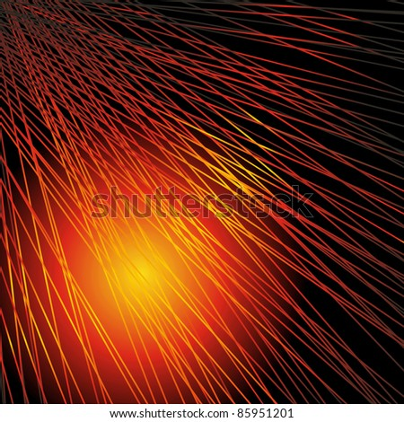 Abstract background with the lines, shined with red-yellow light. A vector. - stock vector