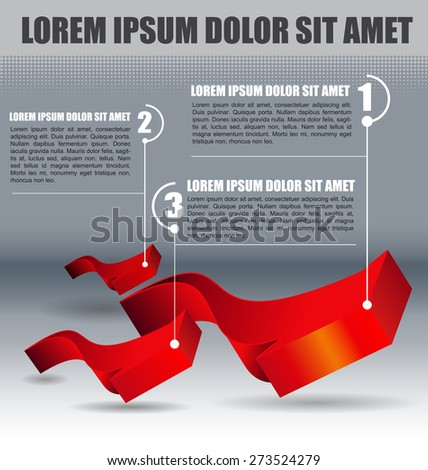 Abstract background with three red arrows and three steps - stock vector