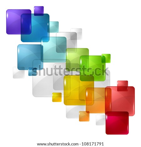 Abstract background with transparent colored squares. Eps 10. - stock vector