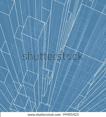 abstract background with transparent skyscrapers - stock vector