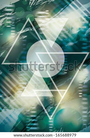 Abstract background with triangles and circle - stock vector