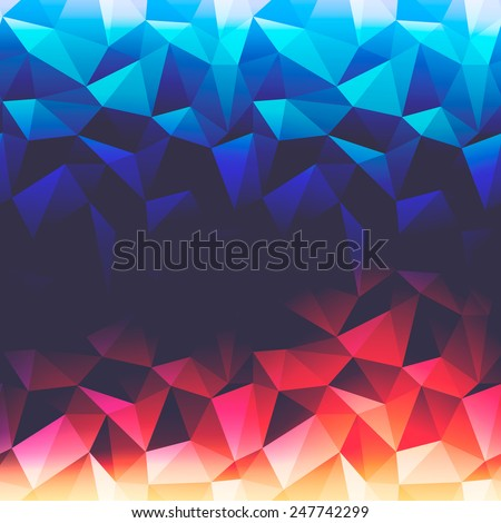 Abstract background with triangles and glowing light from up and down - stock vector