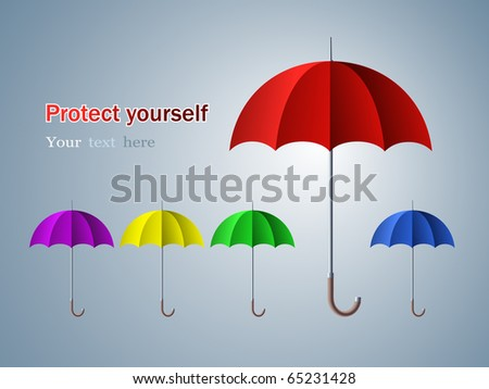 Abstract background with umbrellas, protection/safety zone concept - stock vector