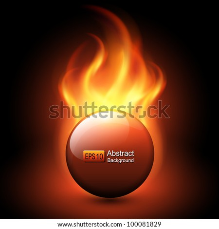 Abstract background with vector flames and fiery sphere.. - stock vector