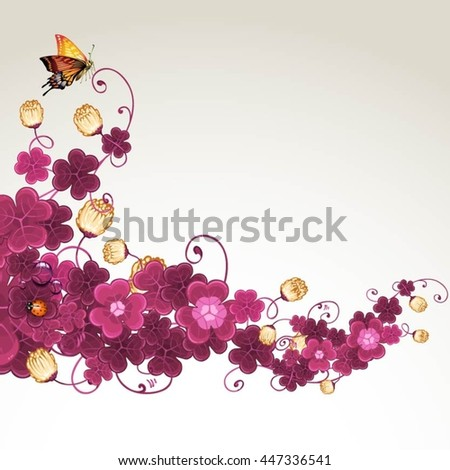 Abstract background with violet clover - stock vector