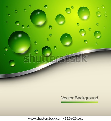 Abstract background with water drops on green, vector. - stock vector
