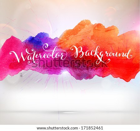 Abstract Background with Watercolor Stains, Vector Design - stock vector