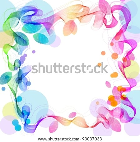 Abstract background with wave and leaves, illustration, vector - stock vector