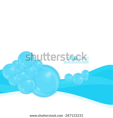 Abstract background with waves of water and bubbles. The freshness and lightness. Natural product. Soap suds, washing, cleaning, lather. - stock vector