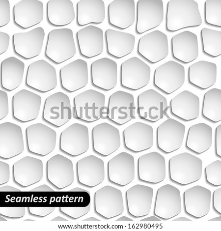 Abstract background with white 3d paper elements. Seamless pattern. Vector illustration EPS 10. - stock vector