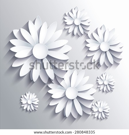 Abstract background with white paper flowers - stock vector
