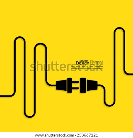Abstract background with wire plug and socket. Concept connection, connection, disconnection, electricity. Flat design. Yellow, black - stock vector