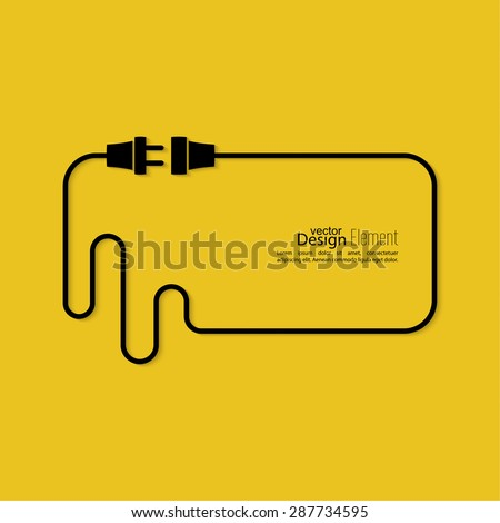 Abstract background with wire plug and socket. Concept connection, connection, disconnection, electricity. Flat design. Speech Bubble. - stock vector