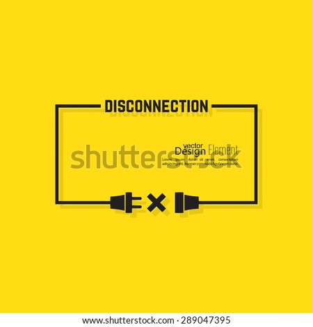 Abstract background with wire plug and socket. Concept connection, connection, disconnection, electricity. Flat design. Yellow, black. Speech Bubble. - stock vector