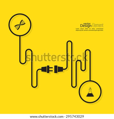 Abstract background with wire plug and socket. Concept connection, connection, disconnection, electricity. scientific ideas. compound chemistry and biology. new technologies - stock vector