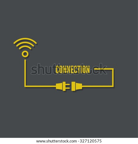 Abstract background with wire plug and socket. Concept connection, connection, disconnection, electricity. Wi fi zone. Vector - stock vector