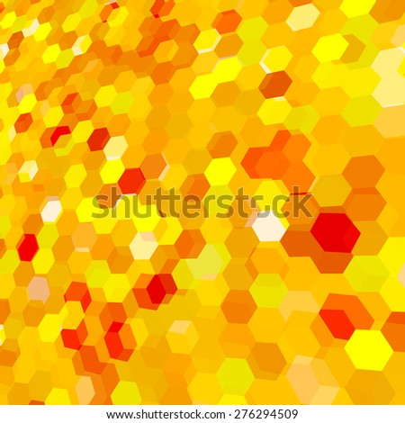 Abstract background with yellow messy hex polygons. - stock vector