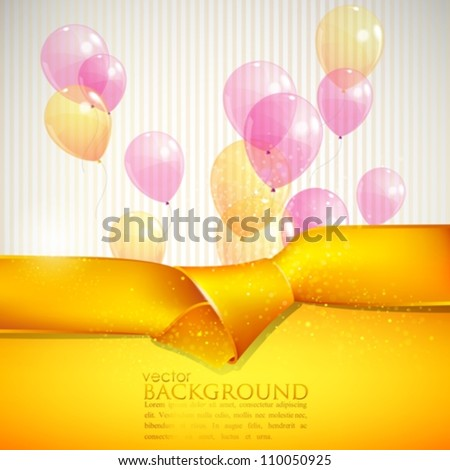 abstract background with yellow ribbon and balloons - stock vector