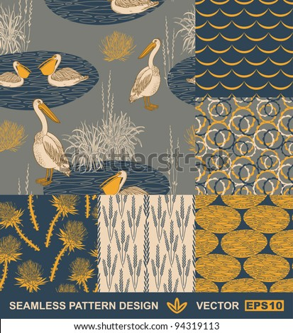 Abstract backgrounds set, vector wallpapers, seamless patterns, fabrics and wrappings with graphic flowers, birds, leafs, and geometric ornaments - summer and spring theme for decoration and design
