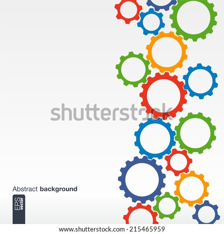 Abstract backgroung. Mechanism with cogwheels. - stock vector