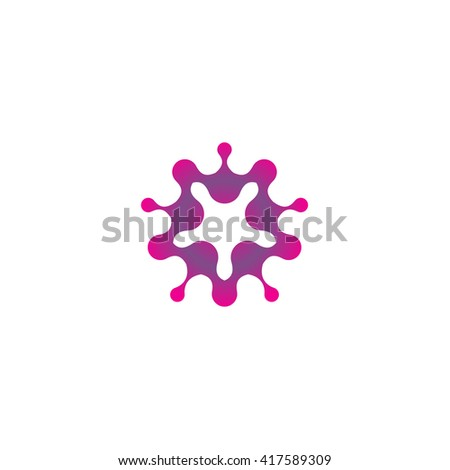 Abstract bacterium spreads. Star shape abstract stylized, purpure color logo template. Blot, balloons, drop, mud, molecule logo element. Vector isolated modern color logo. Universal company symbol.  - stock vector
