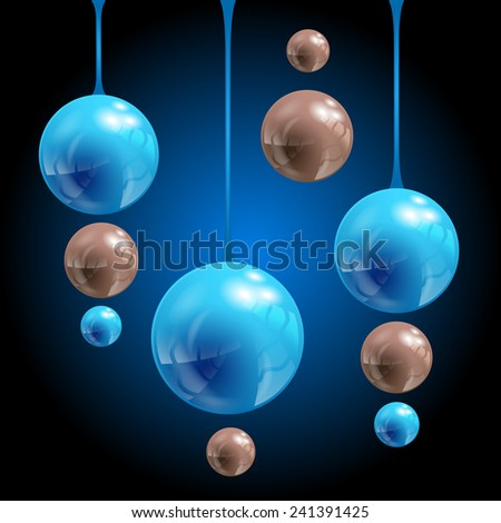 Abstract balls on blue-black background, vector, eps 10