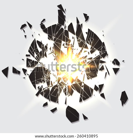 Abstract bang debris circle breaking. Vector background