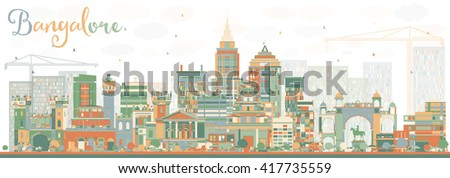 Abstract Bangalore Skyline with Color Buildings. Vector Illustration. Business Travel and Tourism Concept with Historic Buildings. Image for Presentation Banner Placard and Web Site. - stock vector