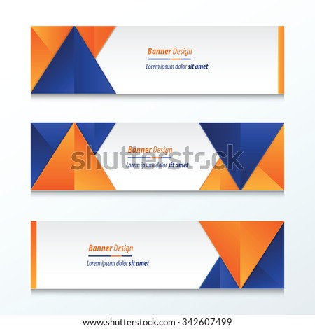 abstract banner design, blue, orange