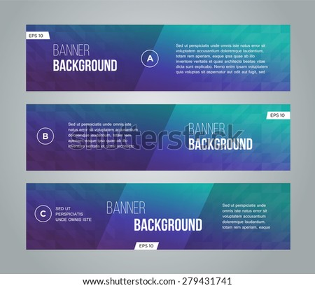 Abstract banner design, gradient triangle style. Vector  - stock vector