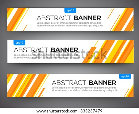 Abstract banner design, yellow and orange color line style. Vector