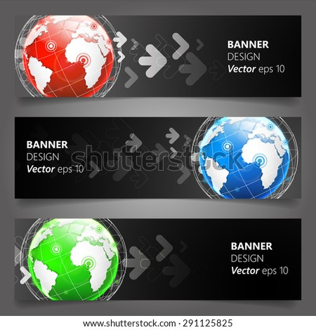 Abstract banner set with globe, Vector Design - stock vector