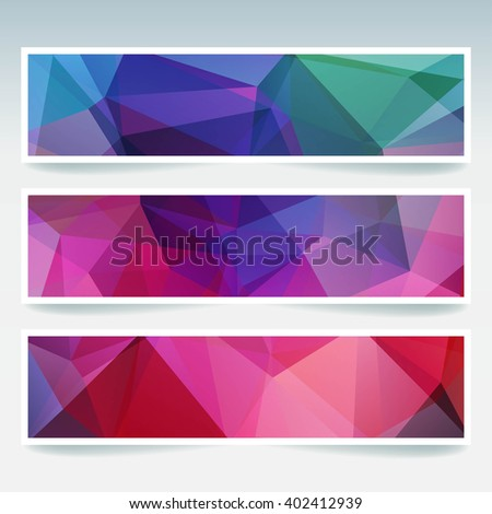 Abstract banner with business design templates.  Set of Banners with polygonal mosaic backgrounds. Geometric triangular vector illustration. Green, blue, pink, purple colors.  - stock vector