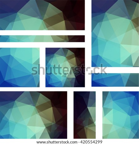 Abstract banner with business design templates.  Set of Banners with polygonal mosaic backgrounds. Geometric triangular vector illustration. Blue, green, brown colors.  - stock vector