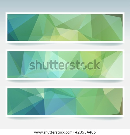 Abstract banner with business design templates.  Set of Banners with polygonal mosaic backgrounds. Geometric triangular vector illustration. Green, blue colors.  - stock vector