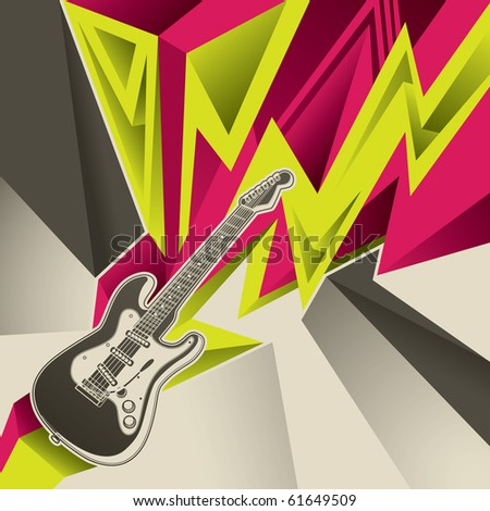 Abstract banner with electric guitar. Vector illustration. - stock vector