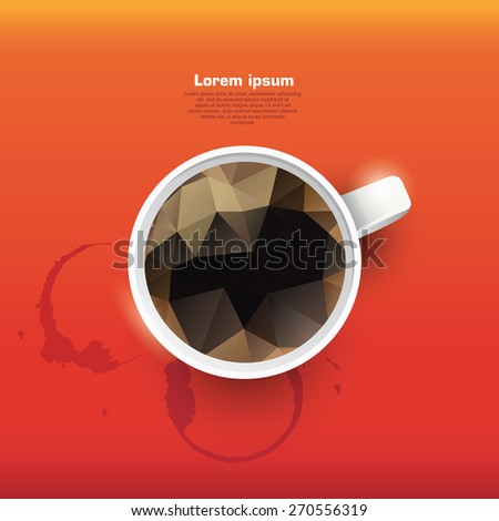 Abstract banner with polygon coffe. Cup of coffee. Coffee cup stains - stock vector