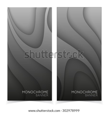 Abstract banners. Gray shapes shadow overlap 3D dimension. Modern flat material composition. Geometric vector template. - stock vector