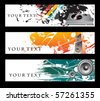 Abstract banners on different music themes, multi-colored, vector illustration. - stock vector