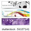 Abstract banners on music note, multi-colored, vector illustration. - stock vector