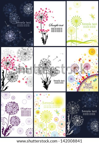 Abstract banners with dandelions - stock vector