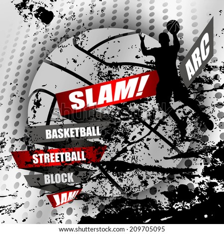 Abstract basketball background with a  basketball player silhouette and grunge elements - stock vector